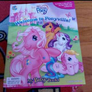 My Little Pony book with figurines and foldable playmat