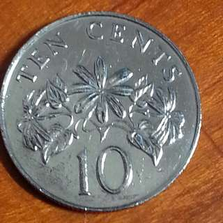 Mint error, 1986 floral (ribbon upward) 10c coin 1pcs