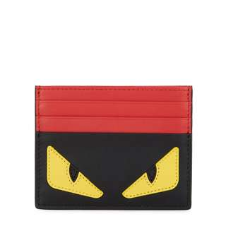 FENDI Monster appliquéd leather cardholder