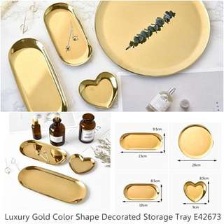 Luxury Gold Color Shape Decorated Storage Tray E42673