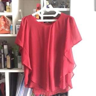 Neu Mor Red Batwing Top