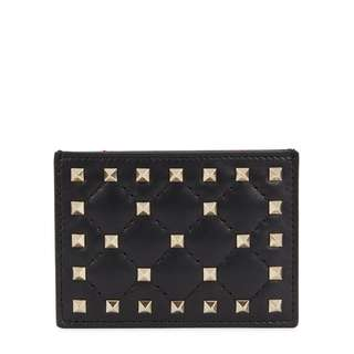 VALENTINO Rockstud Spike black leather card holder