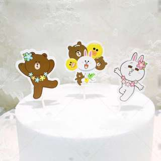 Line Friends Brown Cony Cake Decoration Topper Cupcake Toppers Picks Birthday Party Bunting
