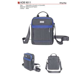 High Quality Blue Waterproof Nylon Sling Bag with 3 Compartment ADB9011