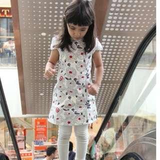 CS063 Girls Traditional Chinese Dress Cheongsam Qipao - White Peonies