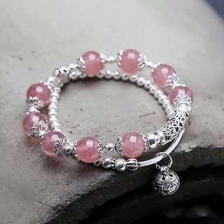 士多啤梨晶 草莓晶 925純銀手鍊