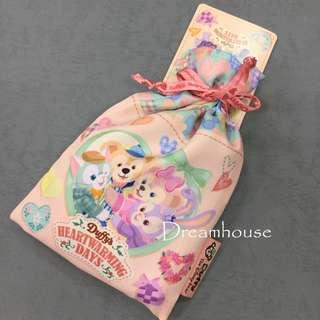 東京迪士尼 情人節限定 達菲 雪莉梅 畫家貓 史黛拉兔 草莓口味 棉花糖 束口袋