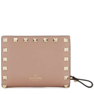 VALENTINO Rockstud pink leather wallet