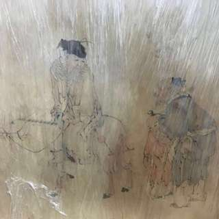 30% OFF GREAT CNY GIFT/SALE {Collectibles Item - Ancient Ink Painting} 清朝古画 Qing Dynasty Chinese Ancient Ink Painting on paper (Frame) -【汝州送友圖】 框画長50.5 寸(128cm) 寛35.5寸(88cm) - 黄慎, 【1687年-1772年】,初名盛,字恭壽、恭懋,号癭瓢子,東海布衣等,福建寧化人,清代畫家。为揚州八怪之一。