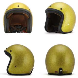Gold Glitter Motorcycle Helmet Open Face Three Button Snap Retro Vintage Vespa Scooter Cafe Racer Motorbike Leather Gloss Old School Harley Davidson