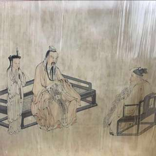 30% OFF GREAT CNY GIFT/SALE {Collectibles Item - Ink Painting} 清朝古画 Qing Dynasty Chinese Ancient Ink Painting On Paper On Frame -【楚邱會友圖】 框画長50.5寸(138cm) 寛35.5寸(88cm) - 黄慎, 【1687年-1772年】,初名盛,字恭壽、恭懋,号癭瓢子,東海布衣等,福建寧化人,清代畫家。为揚州八怪之一。