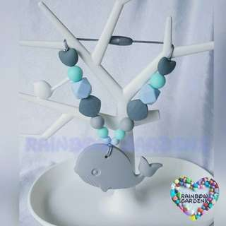 Grey Whale Teether with beads Carrier Accessory