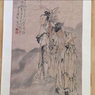 30% OFF GREAT CNY GIFT/SALE {Collectibles Item} 清朝古画 Qing Dynasty Chinese Ancient Ink Painting On Paper On Scroll -【張何二仙圖】 軸画長72寸(172cm) 寛27 1/2寸(70cm) - 黄慎, 【1687年-1772年】,初名盛,字恭壽、恭懋,号癭瓢子,東海布衣等,福建寧化人,清代畫家。为揚州八怪之一。
