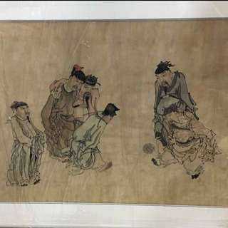 30% OFF GREAT CNY GIFT/SALE {Collectibles Item - Ink Painting} 清朝古画 Qing Dynasty Chinese Ancient Ink Painting On Paper On Frame -【蹴鞠圖】 框画長4尺2寸(128cm) 寛2尺9寸(83cm)  - 黄慎【1687年-1772年】,初名盛,字恭壽、恭懋,号癭瓢子,東海布衣等,福建寧化人,清代畫家。为揚州八怪之一。