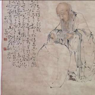 30% OFF GREAT CNY GIFT/SALE {Collectibles Item - Ancient Ink Painting} 清朝古画 Qing Dynasty Chinese Ancient Ink Painting On Paper Scroll -【寿星圖】 軸画長72寸(182cm) 寛33寸(83cm) - 黄慎, 【1687年-1772年】,初名盛,字恭壽、恭懋,号癭瓢子,東海布衣等,福建寧化人,清代畫家。为揚州八怪之一。
