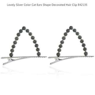 Lovely Silver Color Cat Ears Shape Decorated Hair Clip E42135