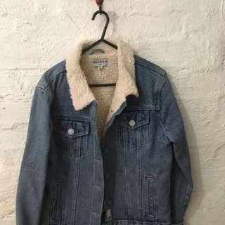 Oversized denim jacket with fleece