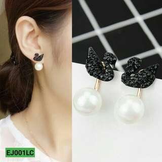 Anting Korea gold s925 black swan pearl earrings