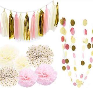 22pc Paper Tassels Pom Pom Garland Birthday / Party Decoration Set - Pink / Gold / Cream