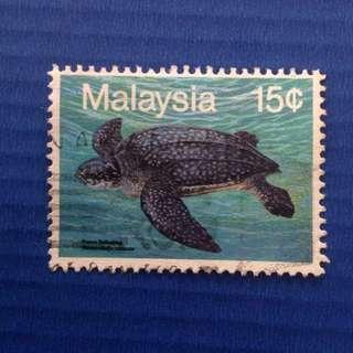 Malaysia 1990 Marine Life (3rd Series) Sea Turtle 15c Used SG450 (0233)