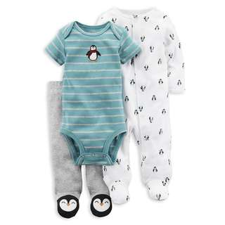 CARTER'S Baby Boy 3 Piece Bodysuit Pants PJ Pajama Sleepsuit Set Penguin 6M