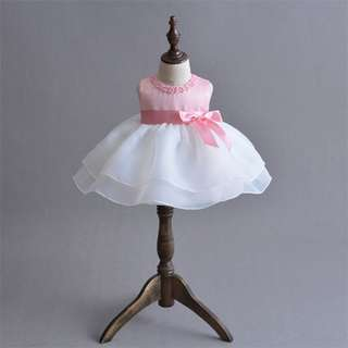Baby Girl Dress Bowknot Princess Party Pageant Birthday Dress PINK 3M-24M