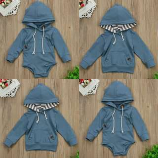 Baby Boy Long Sleeves Hooded Romper / Long Sleeves Hooded Top.