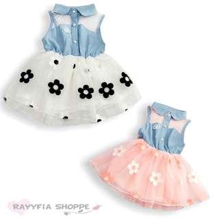 *READY STOCK* Baby Girls Flower Lace Denim Top Tutu Dress