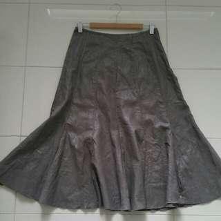 GRACE HILL 10 taupe grey silver LONG SKIRT formal dressy office Linen