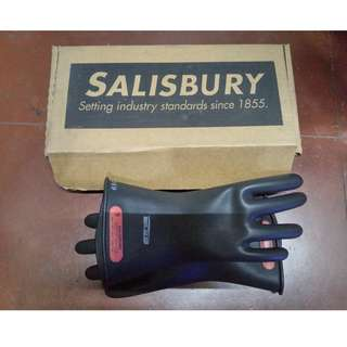 SALISBURY Black Electrical Gloves, Natural Rubber, 0 Class, Size 9