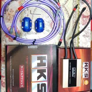 HKS ULTIMATE POWER CHARGER 600CCA + HKS NANOTECH GROUNDING WITH ALTERNATOR CABLE + HKS MAGNETIC FUEL SAVER