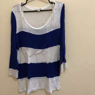 Blue and white stripes long sleeves