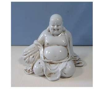 Vintage white porcelain Buddha statue circa 1960s used
