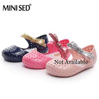 Jelly Shoes Glitter Bow Soft PVC Outsole for Baby Girl