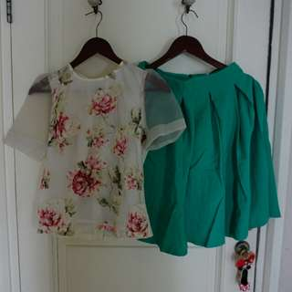 Top+skirt green flower Baru dipakai 1x