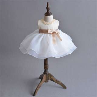Baby Girl Dress Bowknot Princess Party Pageant Birthday Dress Champagne 3m-24m