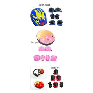 🔥RS🔥Combo Set EcoSport ultralight kids helmet + wrist elbow knee pads guard
