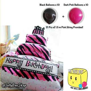 Package Buy - Large Cake Balloon with 20 Normal Balloons (Black and Dark Pink Theme)
