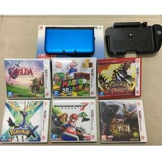 [超便宜絕版品] 3DSLL 繁體中文機(9成新)+遊戲6片+擴充右搖桿