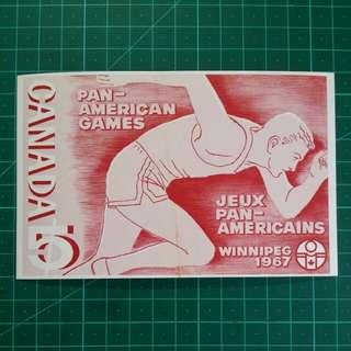 [均一價$10]1967 加拿大 泛美運動會 郵票原圖明信片