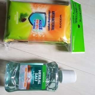 Cleansing wipes and mouthwash bundle