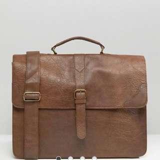ASOS smart satchel in Tan
