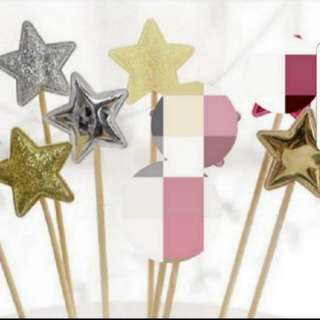 Star shape Shiny/Glitter Toppers for Party, Cupcake, muffin, Cake Decorations