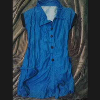 REPRICED!! NEGOTIABLE!! BLUE STRIPED DRESS UNEVEN COLLARED