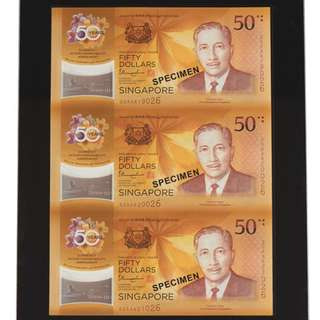 Brand New Singapore CIA50 3-IN-1 UNCUT SHEET
