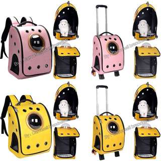 Pet trolley backpack Latest 15 holes Synthetic leather In stock Pet Cat Dog Carrier Trolley Backpacks Shoulders Travel Bags Outdoor