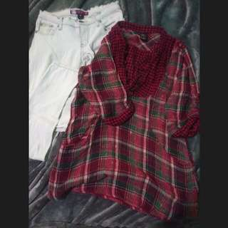 BUNDLE!! RED CHECKERED TOP w/ GOLD LININGS+ WHITE DENIM JEANS
