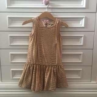 Cotton On Metallic Gold Girl Dress