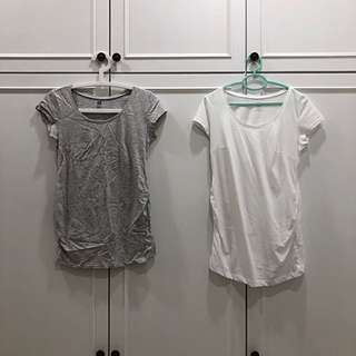 H&M maternity basic top both grey and white in a set