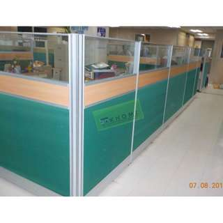 CUBICLE PARTITION 6cm aluminum profile fabric laminate/glass